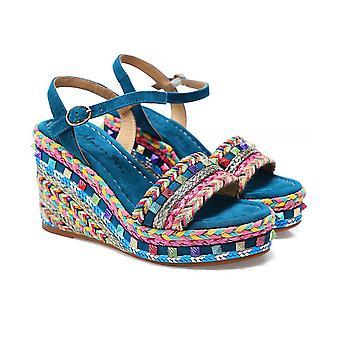 Alma en Pena Braided Wedge Suede Sandals