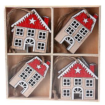 Gisela Graham Wooden Houses Christmas Dec