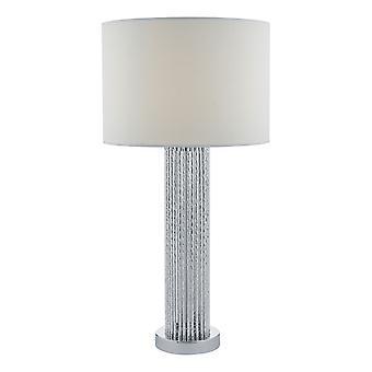 DAR LAZIO bordlampe sølv med hvid bomuld rund tromle skygge