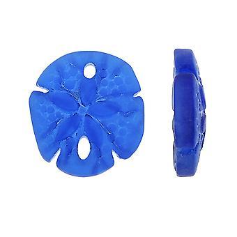 Kultiverad havsglas, Sand Dollar Hängen 21x19mm, 2 stycken, Royal Blue