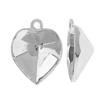 Swarovski Crystal Fancy Kivi riipus asetus, Sopii #4884 11x10mm, 2 kappaletta, Rhodium Plated