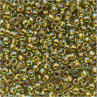 توهو جولة البذور الخرز 11/0 996 'الذهب اصطف قوس قزح Peridot' 8 غرام أنبوب