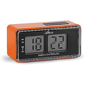 FengChun Digitalwecker LCD Funkwecker Snooze Licht Retro Design Orange Lautlos ohne Ticken - 1881-12