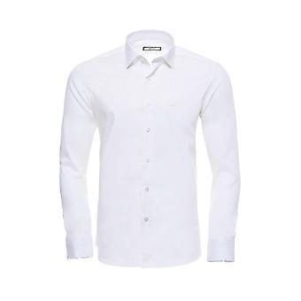 Poly cotton slim fit cream shirt