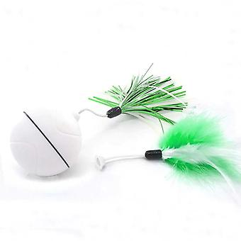 Electric Cat Toys Rolling Ball Smart Automatic Cat Toy Laser Feather Toys For Cats(green)