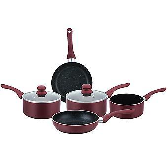 7 utensilios de cocina pavimentados de piedra antiadherente establecidos en borgoña