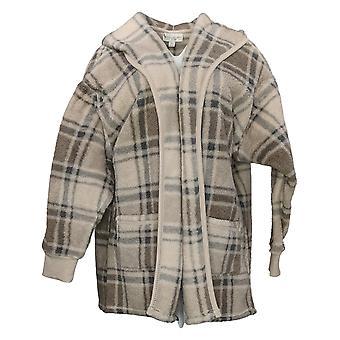 Koolaburra By UGG Women's Sweater Cozy Shaggy Plush Cardigan Gray A386142