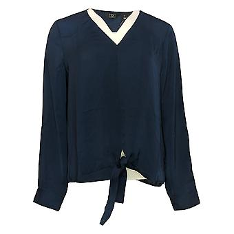 G by Giuliana Women's Top Medium Hammered Satin tie-Front Blouse Blue 721098