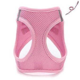 Xxs 19-23cm الوردي تنفس سترة الجر الحيوانات الأليفة مع المقود للصغار، متوسطة وكبيرة az5868