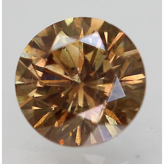 Cert 0.69 Carat Int Brown VVS2 Round Brilliant Enhanced Natural Diamond 5.57mm