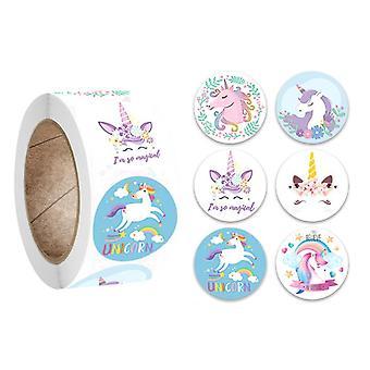 500 adesivi - Motivo unicorno - Cartone animato