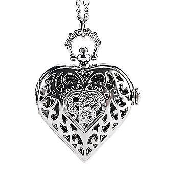 Casual DEFFRUN Silver Heart Shape Hollow Quartz Pocket Watch