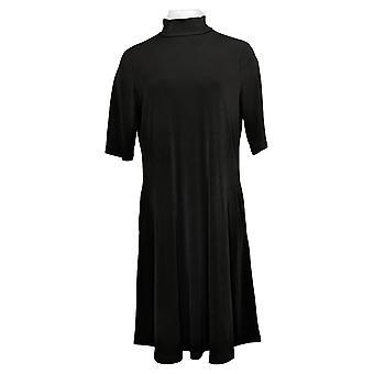 Susan Graver Dress Liquid Knit Mock-Neck Elbow-Sleeve Black A367258
