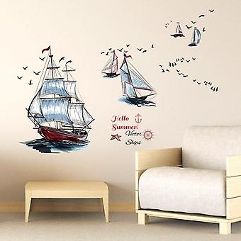 Cartoon Sailboat Wall Sticker Home Decoration Wall Paste Pvc Decal