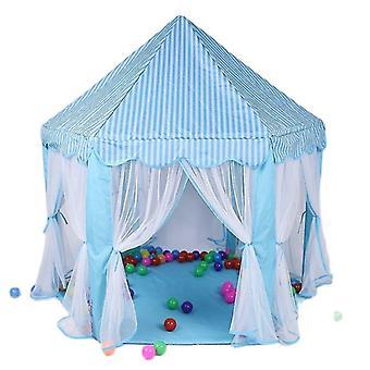 青い遊びの家のゲームのテントのおもちゃボールピットプールポータブル折りたたみ式の王女折りたたみテント城の贈り物テント子供の女の子の女の子fa1679