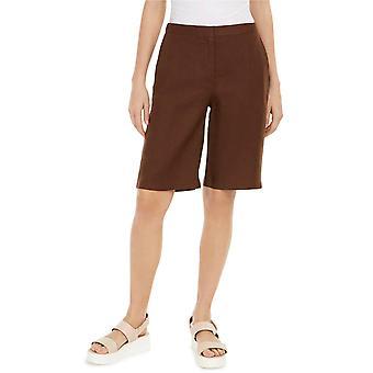 Eileen Fisher Cocoa Organic Linen Walking Short Size 10 MSRP $128