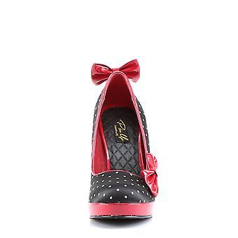 Pin Women's Shoes Up Blk Satin-Red Pat (Polka Dots Print)