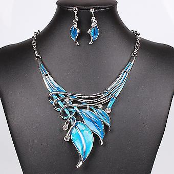 Necklace Earring Crystal Jewelry Set(Blue)