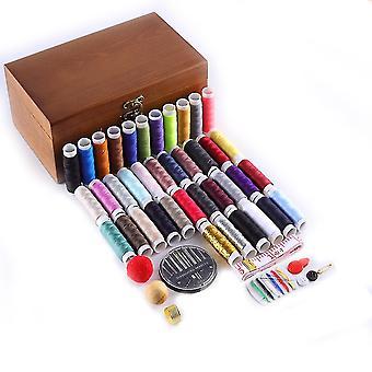 Дерево Швейный ящик Набор Ручное шитье Вышивка Инструменты для ручного стегания Стежки Вышивка Нитки