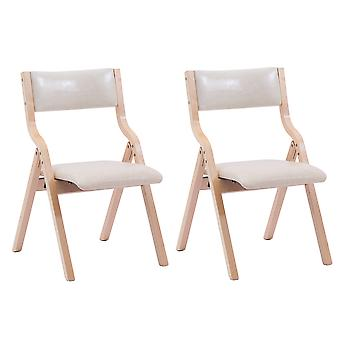 2 PCS Folding chair Folding dining chair Solid Wood Home Leisure Backrest Armrest Simple Horn Dining Folding dining chair