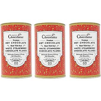 Martin's Chocolatier | 3 Pack | Strawberry Hot Chocolate Flakes Drinking Chocolate Made from Real Belgian Chocolate Flakes
