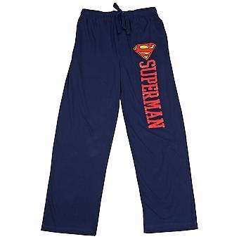 Superman Symbol and Text Pajama Sleep Pants