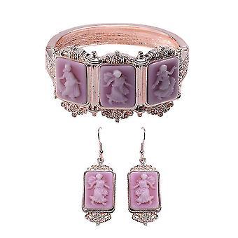 TJC Designer, Hoop Smykker Sæt til Kvinders Purple Cameo i rustfrit stål
