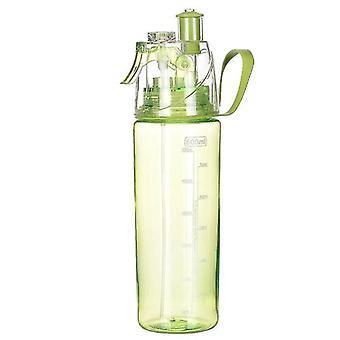 Draagbare zomer en sport waterfles met spraying functie 600ml (Groen)