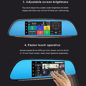 """7"""" Hd 1080p Smart Car Dvr Retrovisor Retrovisor Câmera Painel Dual Lens 3g Wifi GPS"""