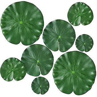 Künstliche Seerose, geeignet für schwimmende Pflanzen und realistische Lotusblätter in Häusern, Gärten, Teichen, Schwimmbädern, Aquarien und Landschaften 8pcs