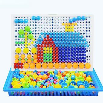 296 Stücke Plastik Mosaik Puzzle Farbe Pädagogisches Spielzeug Pilz Nagel Box Diy Spielzeug