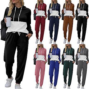 Pullover Anzug Mode Loose Casual Farbe Matching Kapuze Neue Damen Schwarz