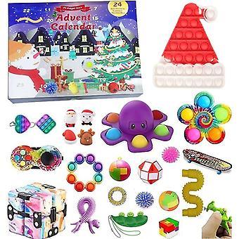 アドベントカレンダークリスマスおもちゃ子供のカウントダウンカレンダー24日クリスマスおもちゃクリスマスプッシュバブルおもちゃパック