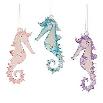 Kust roze paars blauw zeepaardjes glas Kerst vakantie ornamenten Set van 3