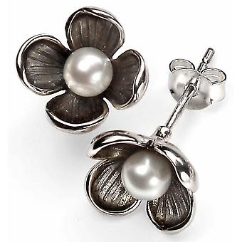 925 Silver Pearl And Flower Earring