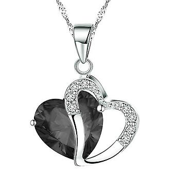 BOOLAVARD Fashion Crystals Heart Shape Pendant Necklace