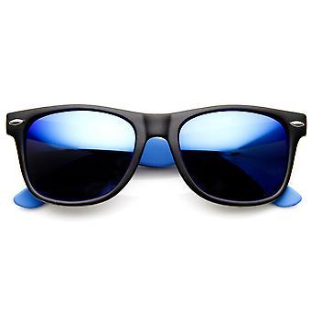 Neon een kleur Mirror Lens hoorn omrande zonnebril