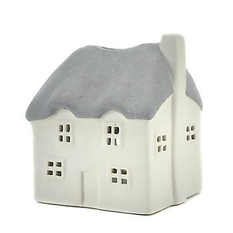 Light-Glow Thatched House Candle Holder, Grey