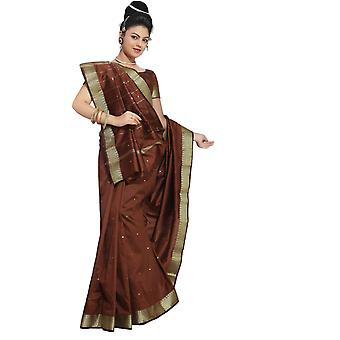 Brown Art Silk Saree Sari fabric India Golden Border