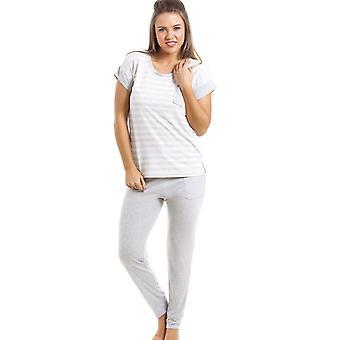 Camille Grey And White Striped Pyjama Set