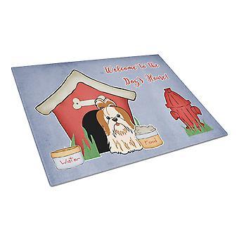 Hond huis collectie Shih Tzu rood witte glazen snijplank groot
