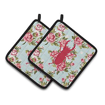 Beetle Shabby Chic Blue Roses   Pair of Pot Holders