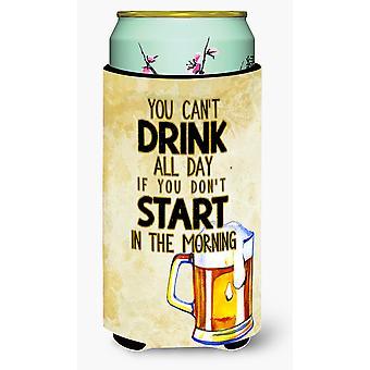 Start Drinking in the Morning Beer Tall Boy Beverage Insulator Hugger