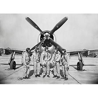 Test pilots stand in front of a P-47 Thunderbolt Poster Print by Stocktrek Images