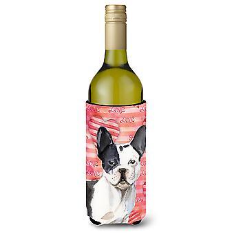 Black White French Bulldog Love Wine Bottle Beverge Insulator Hugger