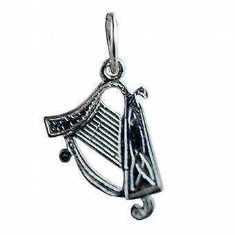 Sølv 15x11mm harpe anheng eller sjarm