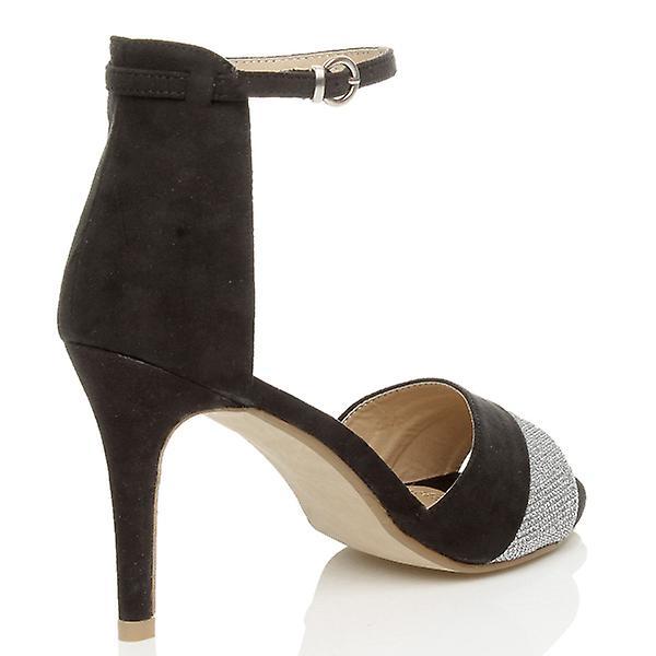 Ajvani womens tacchi alti a spillo partito polsino contrasto due tono sandali peep toe scarpe 4nVMzb