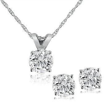 Collar de solitario de diamantes y pernos pendientes conjunto 5/8 quilates tw 14K oro blanco