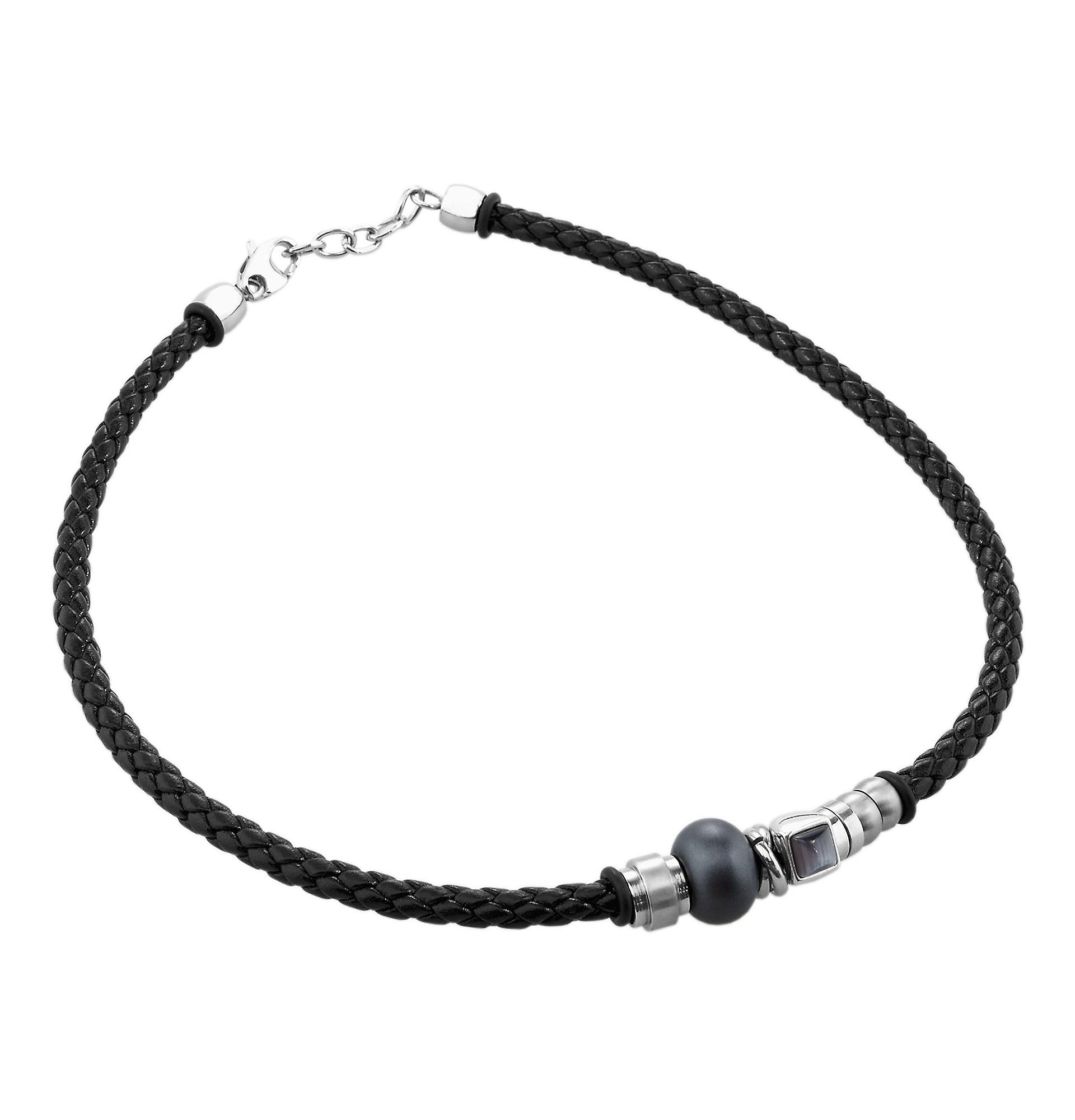 Burgmeister leather collier and stainless steel snap hook JBM1168-448