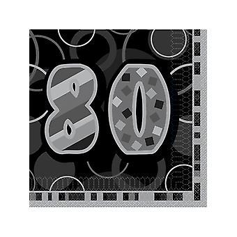 Fødselsdag Glitz sort & sølv 80 års fødselsdag - frokost servietter